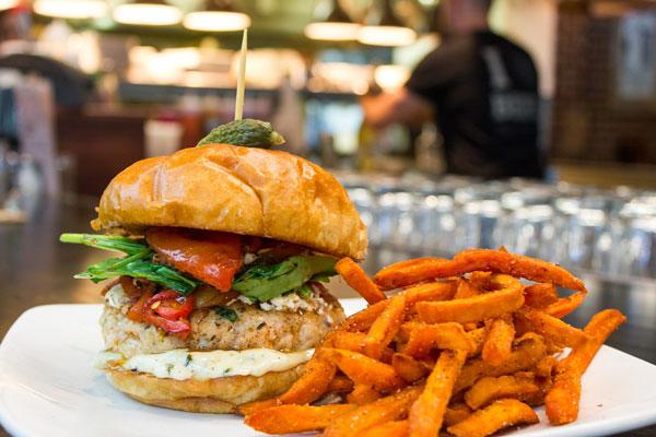 Salmon Burger at Hops Co