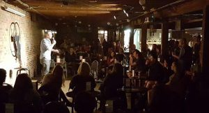 Comedians perform at The Dead Crow Comedy Room in downtown Wilmington, NC.